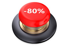80 percent discount Red button. Isolated on white background stock illustration
