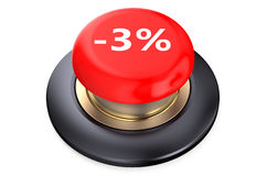 3 percent discount Red button Royalty Free Stock Photography