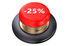 25 percent discount Red button. Isolated on white background Royalty Free Stock Photos