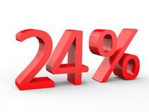 24 percent discount. Red 3d numbers on isolated white background. Red 3d numbers percentage discount on isolated white background 3d Illustration Stock Photo