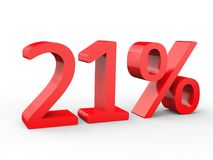 21 percent discount. Red 3d numbers on isolated white background. Red 3d numbers percentage discount on isolated white background 3d Illustration Royalty Free Stock Photos