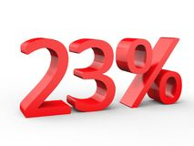 23 percent discount. Red 3d numbers on isolated white background. Red 3d numbers percentage discount on isolated white background 3d Illustration Royalty Free Stock Photography