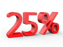 25 percent discount. Red 3d numbers on isolated white background. Red 3d numbers percentage discount on isolated white background 3d Illustration Royalty Free Stock Photos