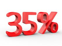 35 percent discount. Red 3d numbers on isolated white background. Red 3d numbers percentage discount on isolated white background 3d Illustration Stock Photography