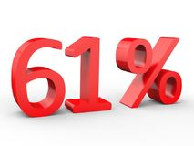 61 percent discount. Red 3d numbers on isolated white background. Red 3d numbers percentage discount on isolated white background 3d Illustration royalty free illustration