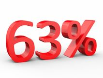 63 percent discount. Red 3d numbers on isolated white background. Red 3d numbers percentage discount on isolated white background 3d Illustration Stock Photo