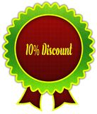 10 PERCENT DISCOUNT on red and green round ribbon badge. Illustration Royalty Free Illustration