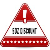 50 PERCENT DISCOUNT on red triangle road sign. Illustration Stock Photos
