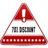 70 PERCENT DISCOUNT on red triangle road sign. Illustration Stock Photo