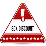 80 PERCENT DISCOUNT on red triangle road sign. Illustration Stock Images