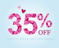 35 percent discount. sale symbol. Pink roses royalty free illustration