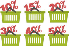 Percent discount in shopping basket Royalty Free Stock Photo