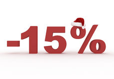 15 Percent discount sign  in the hat of Santa Claus Royalty Free Stock Image