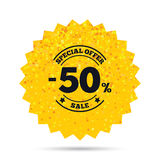 50 percent discount sign icon. Sale symbol. Gold glitter web button. 50 percent discount sign icon. Sale symbol. Special offer label. Rich glamour star design Stock Photography