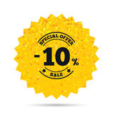 10 percent discount sign icon. Sale symbol. Gold glitter web button. 10 percent discount sign icon. Sale symbol. Special offer label. Rich glamour star design royalty free illustration