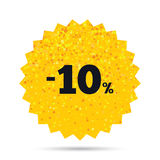 10 percent discount sign icon. Sale symbol. Gold glitter web button. 10 percent discount sign icon. Sale symbol. Special offer label. Rich glamour star design Royalty Free Stock Image
