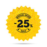25 percent discount sign icon. Sale symbol. Stock Photography