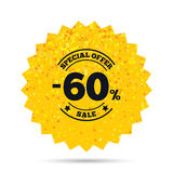 60 percent discount sign icon. Sale symbol. Gold glitter web button. 60 percent discount sign icon. Sale symbol. Special offer label. Rich glamour star design Royalty Free Stock Image