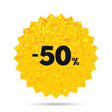 50 percent discount sign icon. Sale symbol. Gold glitter web button. 50 percent discount sign icon. Sale symbol. Special offer label. Rich glamour star design Royalty Free Stock Photography