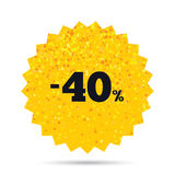 40 percent discount sign icon. Sale symbol. Stock Photos