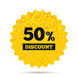 50 percent discount sign icon. Sale symbol. Gold glitter web button. 50 percent discount sign icon. Sale symbol. Special offer label. Rich glamour star design Royalty Free Stock Images