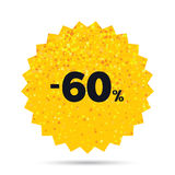 60 percent discount sign icon. Sale symbol. Gold glitter web button. 60 percent discount sign icon. Sale symbol. Special offer label. Rich glamour star design Royalty Free Stock Photography