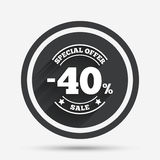 40 percent discount sign icon. Sale symbol. Stock Photo