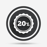 20 percent discount sign icon. Sale symbol. Special offer label. Circle flat button with shadow and border. Vector royalty free illustration