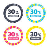 30 percent discount sign icon. Sale symbol. Special offer label. Colored buttons with icons. Poker chip concept. Vector Stock Photography