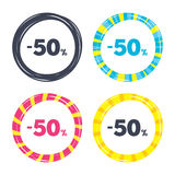 50 percent discount sign icon. Sale symbol. Special offer label. Colored buttons with icons. Poker chip concept. Vector Stock Photo