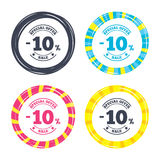 10 percent discount sign icon. Sale symbol. Special offer label. Colored buttons with icons. Poker chip concept. Vector Stock Photo