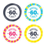 60 percent discount sign icon. Sale symbol. Special offer label. Colored buttons with icons. Poker chip concept. Vector Stock Illustration