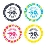 50 percent discount sign icon. Sale symbol. Special offer label. Colored buttons with icons. Poker chip concept. Vector Stock Photography