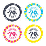 70 percent discount sign icon. Sale symbol. Special offer label. Colored buttons with icons. Poker chip concept. Vector Stock Image