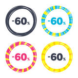 60 percent discount sign icon. Sale symbol. Special offer label. Colored buttons with icons. Poker chip concept. Vector Royalty Free Stock Image