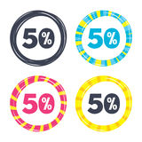 50 percent discount sign icon. Sale symbol. Special offer label. Colored buttons with icons. Poker chip concept. Vector Stock Images