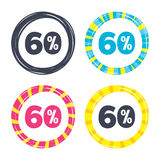 60 percent discount sign icon. Sale symbol. Special offer label. Colored buttons with icons. Poker chip concept. Vector Stock Image