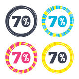 70 percent discount sign icon. Sale symbol. Special offer label. Colored buttons with icons. Poker chip concept. Vector Stock Photography
