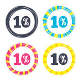 10 percent discount sign icon. Sale symbol. Special offer label. Colored buttons with icons. Poker chip concept. Vector Stock Photos