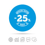25 percent discount sign icon. Sale symbol. Special offer label. Copy files, chat speech bubble and chart web icons. Vector Stock Photography