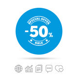 50 percent discount sign icon. Sale symbol. Special offer label. Copy files, chat speech bubble and chart web icons. Vector Stock Images