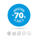 70 percent discount sign icon. Sale symbol. Royalty Free Stock Photography