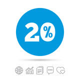 20 percent discount sign icon. Sale symbol. Special offer label. Copy files, chat speech bubble and chart web icons. Vector stock illustration