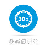 30 percent discount sign icon. Sale symbol. Special offer label. Copy files, chat speech bubble and chart web icons. Vector Royalty Free Stock Image