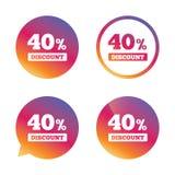 40 percent discount sign icon. Sale symbol. Stock Photos