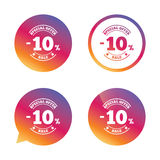 10 percent discount sign icon. Sale symbol. Special offer label. Gradient buttons with flat icon. Speech bubble sign. Vector stock illustration