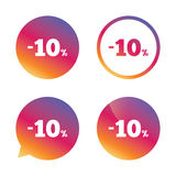 10 percent discount sign icon. Sale symbol. Special offer label. Gradient buttons with flat icon. Speech bubble sign. Vector Stock Photo