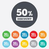 50 percent discount sign icon. Sale symbol. Special offer label. Round colourful 11 buttons Stock Photos