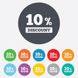 10 percent discount sign icon. Sale symbol. Special offer label. Round colourful 11 buttons Royalty Free Stock Photography