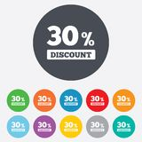 30 percent discount sign icon. Sale symbol. Special offer label. Round colourful 11 buttons stock illustration